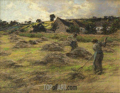 Haymaking Behind the Farm, 1878 | Leon-Augustin Lhermitte | Painting Reproduction