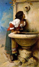 Roman Girl at a Fountain, 1875 by Leon Bonnat | Painting Reproduction