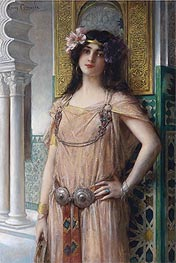 A Bejeweled Harem Beauty, undated by Leon Comerre | Painting Reproduction