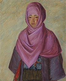 The Purple Shawl, undated by Lilla Cabot Perry | Painting Reproduction