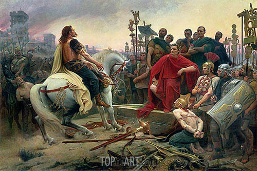 Vercingetorix Throws down his Arms at the Feet of Julius Caesar, 1899 | Lionel Royer | Painting Reproduction
