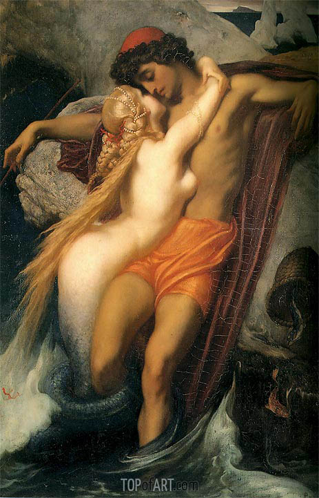 The Fisherman and the Syren, 1857 | Frederick Leighton | Gemälde Reproduktion
