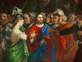 The Woman Taken in Adultery, c.1527/29 by Lorenzo Lotto | Painting Reproduction