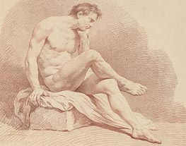 Seated Male Nude, undated by Lagrenee | Painting Reproduction