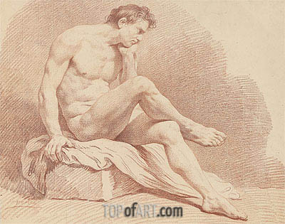 Seated Male Nude, undated | Lagrenee | Painting Reproduction