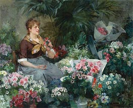 The Flower Seller, 1887 von Louis Marie de Schryver | Gemälde-Reproduktion