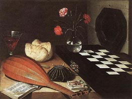 Still-life with Chessboard (The Five Senses), 1630 von Lubin Baugin | Gemälde-Reproduktion