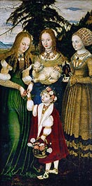 Saint Dorothy Receiving Roses from a Young Boy (St. Catherine Altarpiece - Left Panel) | Lucas Cranach | Painting Reproduction