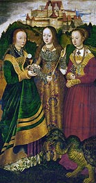 Saint Barbara with Chalice and Host, Saint Ursula with Arrow and Saint Margaret with the Dragon (St. Catherine Altarpiece - Right Panel) | Lucas Cranach | Painting Reproduction