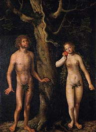 Adam and Eve, undated by Lucas Cranach | Painting Reproduction