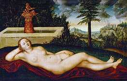 Reclining Water Nymph, undated by Lucas Cranach | Painting Reproduction