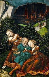Lot and His Daughters, 1528 by Lucas Cranach | Painting Reproduction