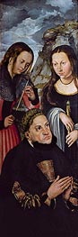 Frederick the Wise with St Ursula and St Genevieve | Lucas Cranach | Gemälde Reproduktion