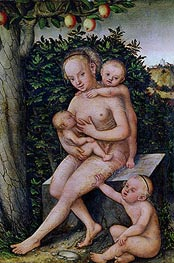 Charity, undated by Lucas Cranach | Painting Reproduction