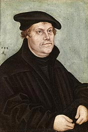 Portrait of Martin Luther, 1533 by Lucas Cranach | Painting Reproduction