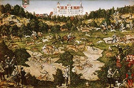 A Hunt in Honor of Carlos V at Torgau Castle | Lucas Cranach | Gemälde Reproduktion