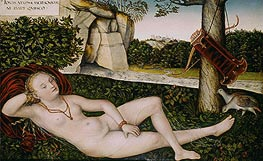 Reclining Water Nymph, c.1540/50 by Lucas Cranach | Painting Reproduction