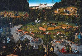 Hunting near Hartenfels Castle, 1540 by Lucas Cranach | Painting Reproduction