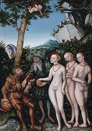 Judgment of Paris, 1530 by Lucas Cranach | Painting Reproduction