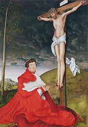 Cardinal Albrecht of Brandenburg Kneeling before Christ on the Cross | Lucas Cranach | Painting Reproduction