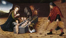 The Nativity with Adoring Child Angels | Lucas Cranach | Painting Reproduction