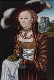Portrait of a Young Lady Holding Grapes and Apples  | Lucas Cranach | Painting Reproduction