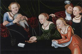 Old Man Beguiled by Courtesans | Lucas Cranach | Gemälde Reproduktion