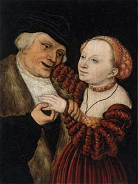 The Ill-Matched Lovers, undated von Lucas Cranach | Gemälde-Reproduktion