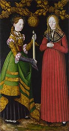 Saints Genevieve and Apollonia (The St Catherine Altarpiece) | Lucas Cranach | Painting Reproduction