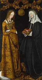 Saints Christina and Ottilia (The St Catherine Altarpiece), 1506 von Lucas Cranach | Gemälde-Reproduktion