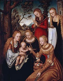 (Marriage of St Catherine) The Virgin and Child with Sts Catherine, Dorothy, Margaret and Barbara, 1516 von Lucas Cranach | Gemälde-Reproduktion