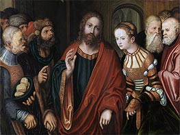 Christ and the Adulteress, c.1520 von Lucas Cranach | Gemälde-Reproduktion