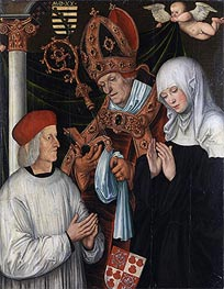 Gabriel of Eyb, Bishop of Eichstätt, with Sts Wilibald and Walburga, 1520 von Lucas Cranach | Gemälde-Reproduktion