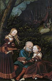 Lot and his Daughters, 1529 von Lucas Cranach | Gemälde-Reproduktion