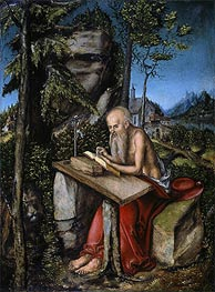 St Jerome in a Rocky Landscape | Lucas Cranach | Painting Reproduction