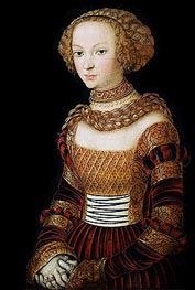 Portrait of a Young Woman (Princess Emilia of Saxony), c.1537 by Lucas Cranach | Painting Reproduction