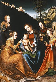 The Mystic Marriage of Saint Catherine of Alexandria with Saints Dorothy, Margaret and Barbara | Lucas Cranach | Painting Reproduction