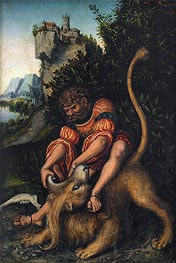 Samson Battling with the Lion | Lucas Cranach | Painting Reproduction