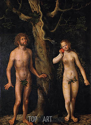 Adam and Eve, undated | Lucas Cranach | Gemälde Reproduktion