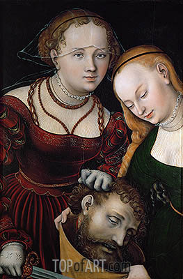 Judith with the Head of Holofernes and a Servant, c.1537 | Lucas Cranach | Painting Reproduction