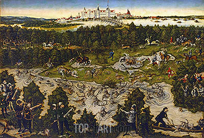 Hunt in Honour of Carlos V at the Castle of Torgau, undated | Lucas Cranach | Gemälde Reproduktion