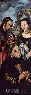 Frederick the Wise with St Ursula and St Genevieve, c.1510/12 | Lucas Cranach | Gemälde Reproduktion