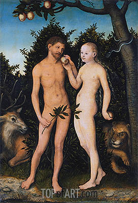 Adam and Eve in Paradise (The Fall), 1531 | Lucas Cranach | Painting Reproduction