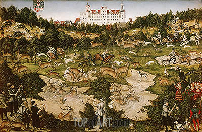 A Hunt in Honor of Carlos V at Torgau Castle, 1544 | Lucas Cranach | Painting Reproduction
