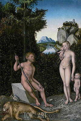 A Faun and His Family with a Slain Lion, c.1526 | Lucas Cranach | Painting Reproduction