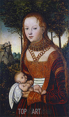 Young Mother with Child (Penance of St. John Chrysostom), 1525 | Lucas Cranach | Painting Reproduction