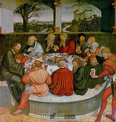 The Last Supper with Luther amongst the Apostles, 1547 | Lucas Cranach | Painting Reproduction