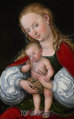 Madonna and Child with Grapes, c.1537 | Lucas Cranach | Gemälde Reproduktion