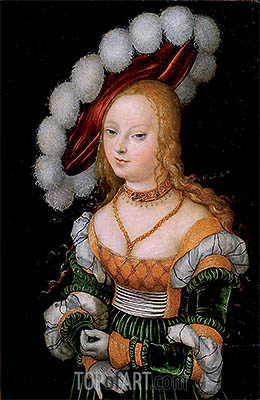 Portrait of Young Girl, c.1525/30 | Lucas Cranach | Gemälde Reproduktion