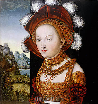 A Finely Dressed Young Lady, c.1530 | Lucas Cranach | Painting Reproduction